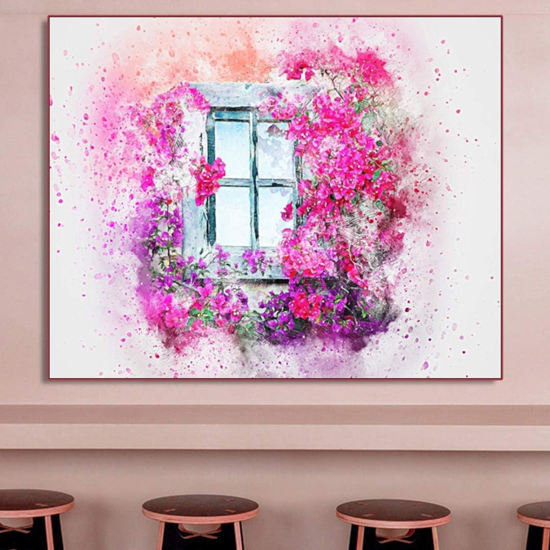 Danjiao Cuadro De Arte De Pared Pintura Al Óleo Abstracta Flores Coloridas Ventana Cuadros Lienzo Pintura Para Sala De Estar Habitación De Niños Decoración Del Hogar Sala De Estar Decor 60x90cm