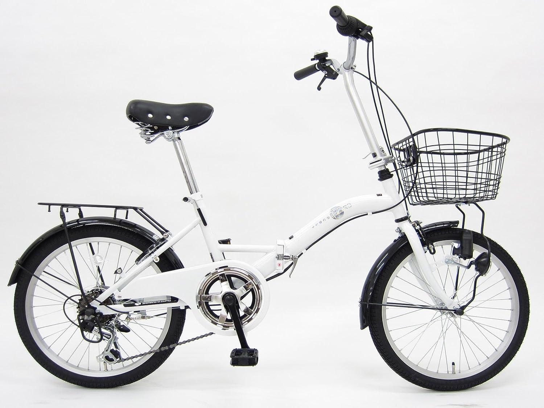 レトロ (RETRO) ホワイト 20インチ シマノ6段変速 ブロックライト 折りたたみ自転車 B079PR4XQT