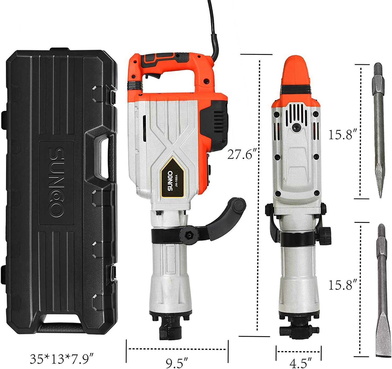 Wheeled Case 1900BPM Heavy Duty Jackhammer Powerful Rock Pavement Concrete Breaker Drills Kit with Gloves Goggle and Flat/&Point Chisels Bits SUNCOO Electric Demolition Jack Hammer