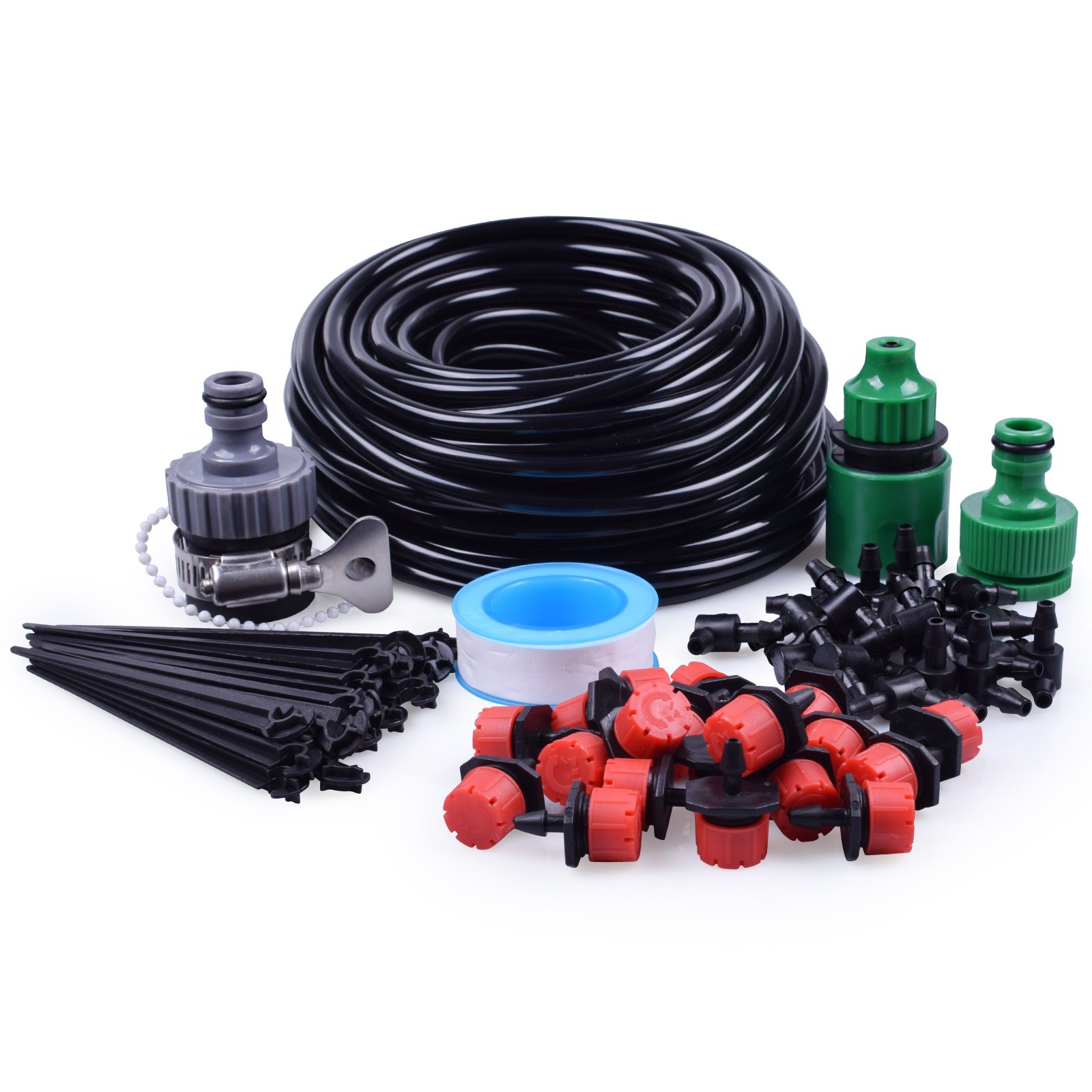 "MIXC 1/4-inch Drip Irrigation Kits Accessories Plant Watering System 50ft 1/4"" Blank Distribution Tubing Hose, 20pcs Drippers, 19pcs Barbed Fittings, Support Stakes, Quick Adapter, Model: GG0C"