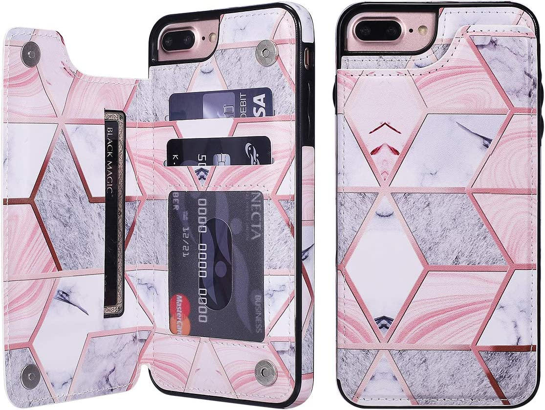 UEEBAI Case for iPhone 7 Plus iPhone 8 Plus, Premium PU Leather Case Geometric Marble Pattern Back Wallet Cover [Two Magnetic Clasp] [Card Slots] Stand Function Durable Soft TPU Case - Grey & Pink