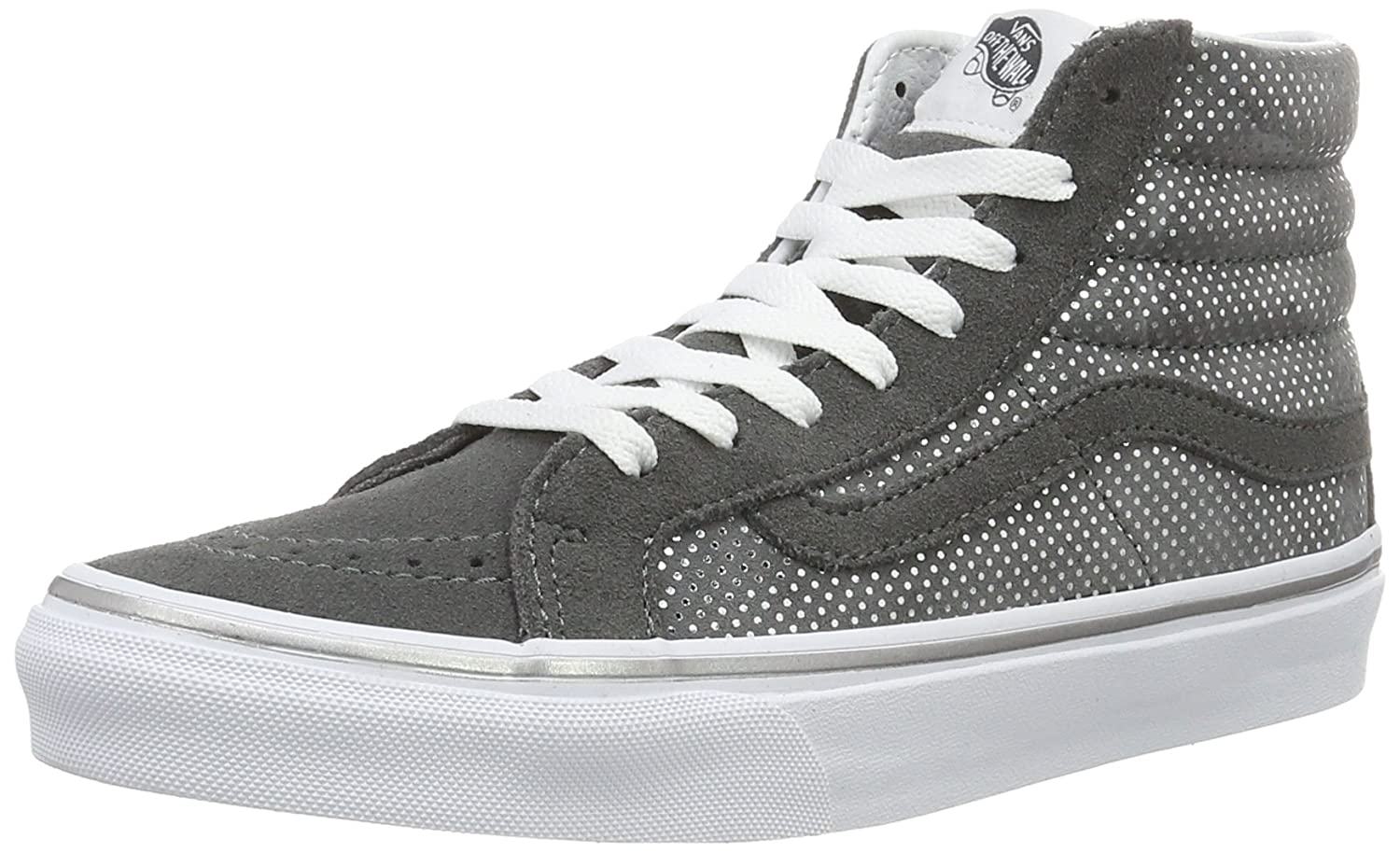 Vans Damen UA Sk8-Hi Slim Hohe Sneakers, Bay/True White, 37 EU  365 EU|Grau (Metallic Dots Dark Gray/Pewter)