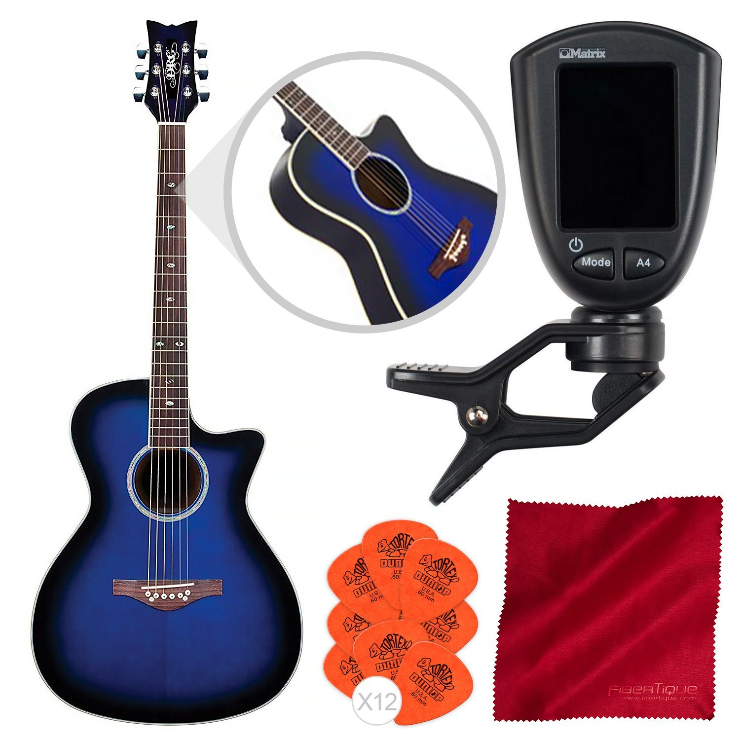 Daisy Rock Wildwood Artist Acoustic-Electric Guitar (Royal Blue Burst) with Guitar Tuner, Picks, and Cleaning Cloth by Daisy Rock - Photo Savings