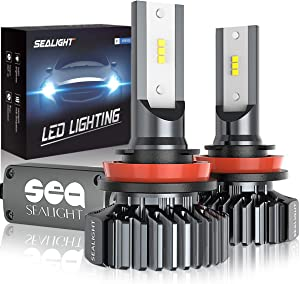 SEALIGHT H11 LED Headlight Bulb Low Beam or Fog Light Plug and Play, 12xCSP Chips H8/H9 Conversion Kit - 6500lm 6000K White