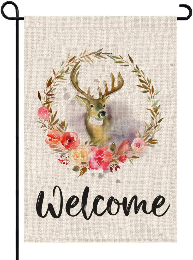 PARTY BUZZ Deer Floral Wreath Burlap Garden Flag Welcome Forest, Double Sided, 12.5 x 18 Inch, Small Mini Outdoor Yard Flag