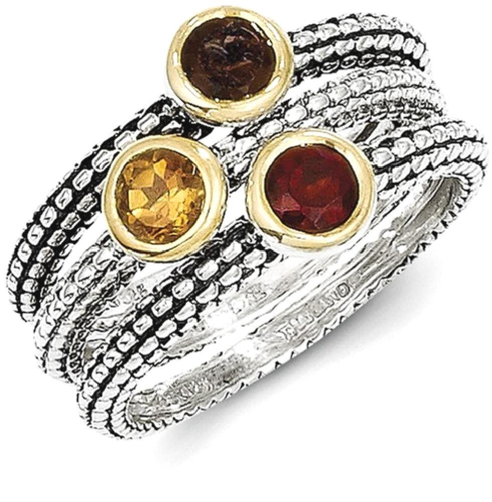 ICE CARATS 925 Sterling Silver Flash Gp Garnet/citrine/smoky Quartz 3 Stackable Band Rings Size 6.00 Ring Stone Gemstone Set Fine Jewelry Gift Set For Women Heart