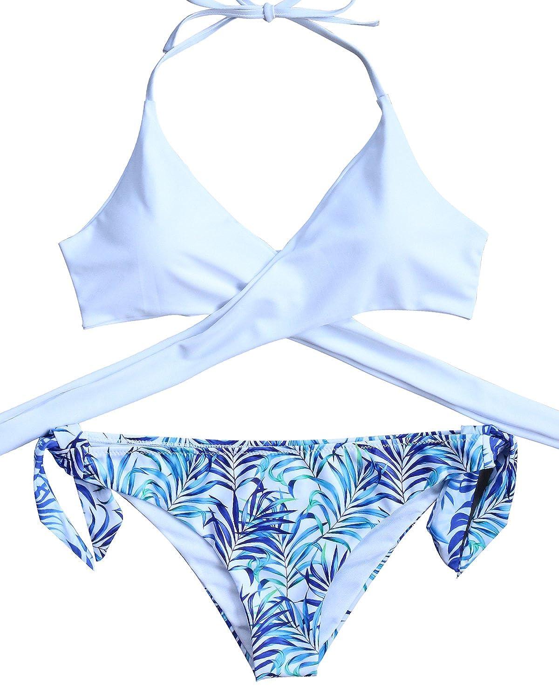 9a5e719c356 LEESMILE Women 2 Piece Bikini Set Padded Cross String Halter Leaf Print  Bathing Suit Swimsuit