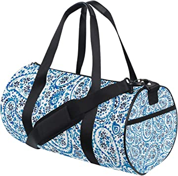 Gym Bag Black Red Paisley Women Canvas Duffel Bag Cute Sports Bag for Girls