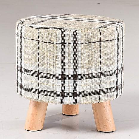 Amazon.com: CGH Taburete tapizado de madera pequeña, cuatro ...