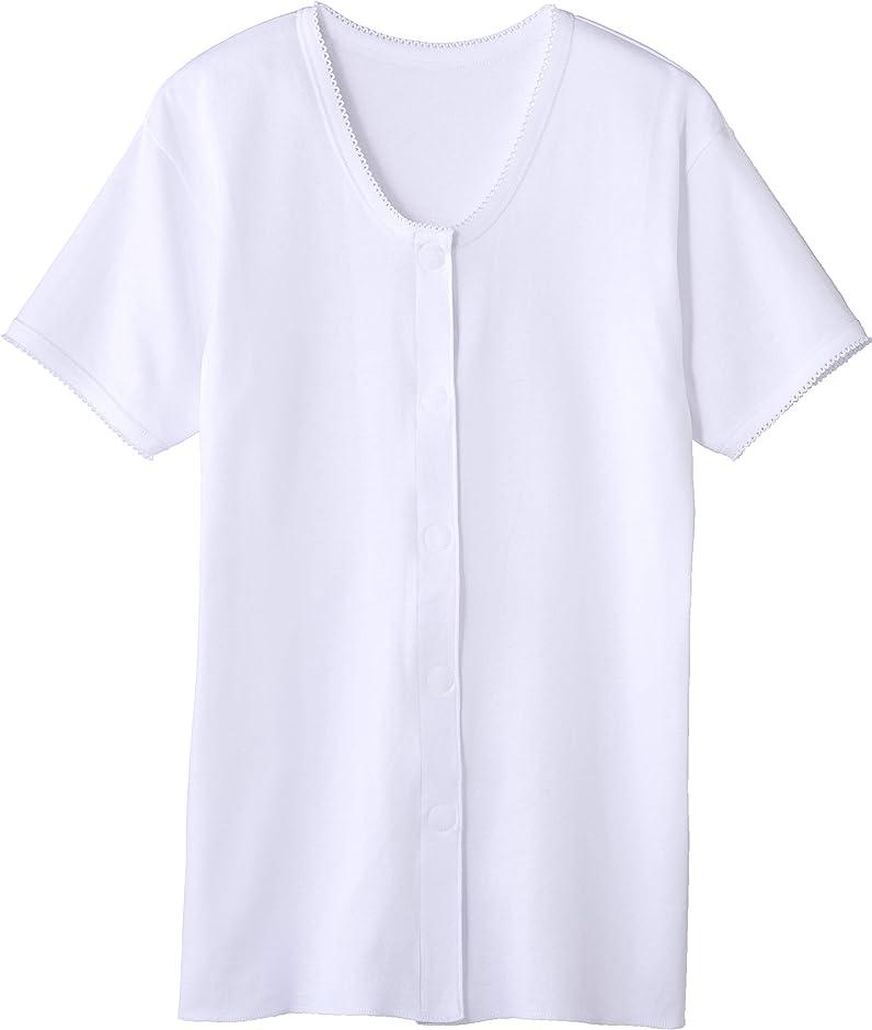 カバレッジやさしい遅いオオサキメディカル プラスハート ワンタッチ肌着 前開き 婦人用 半袖 Mサイズ ピンクボーダー