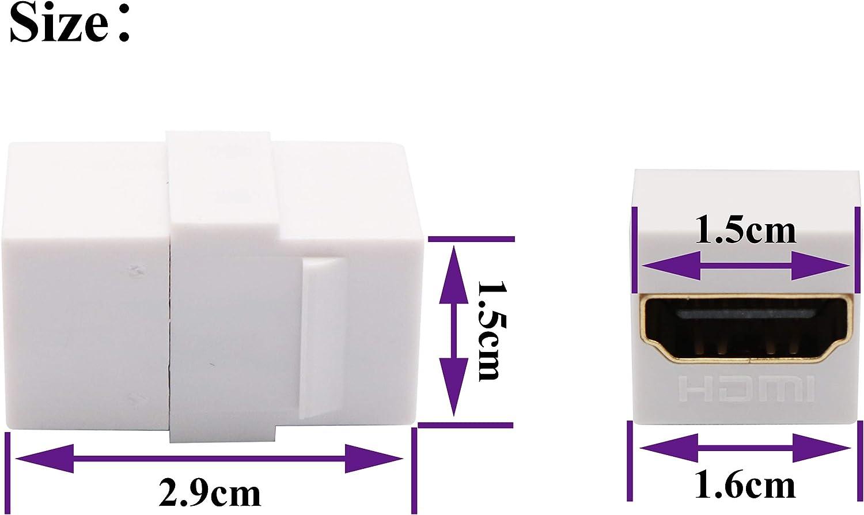5 Pack, 90 Degree Black Gold Plated HDMI Keystone Jack Insert Female to Female 3D 4K Coupler Adapter for Wall Plate AAOTOKK HDMI Keystone Coupler