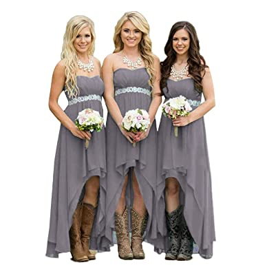8cb20fc4e2a Fanciest Women  Strapless High Low Bridesmaid Dresses Wedding Party Gowns  Grey US2