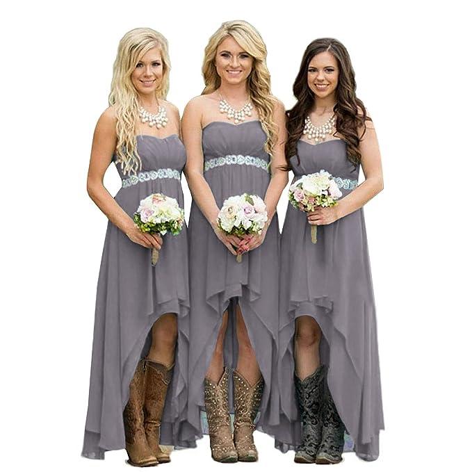 51f4dd023c33f Fanciest Women' Strapless High Low Bridesmaid Dresses Wedding Party Gowns  Grey US2