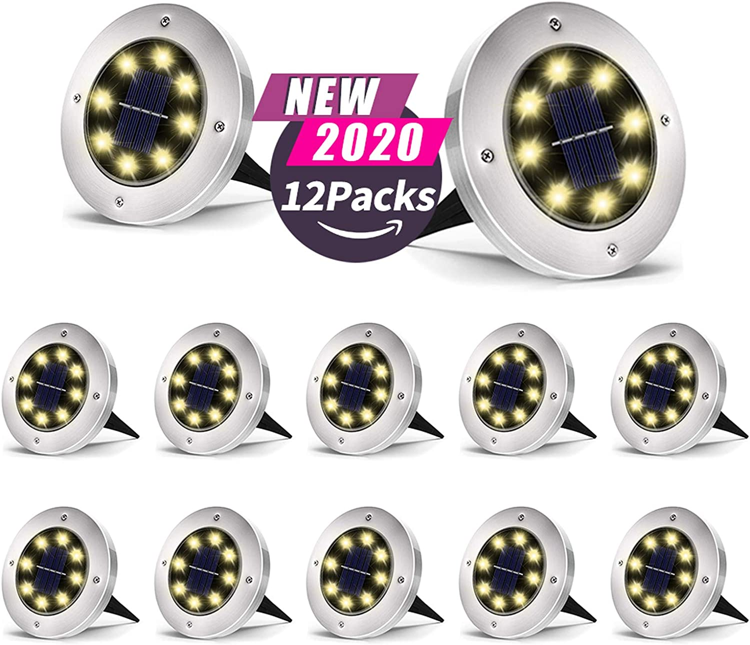 Amazon Promo Code for 8 LED Warm Light Outdoor Solar Disk Lights