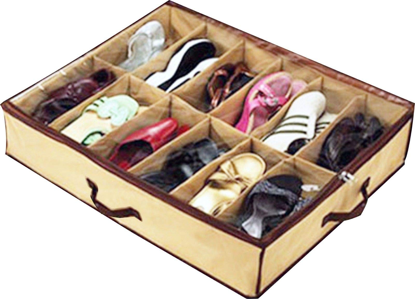 eyesonme Home Storage Shoe Organizers 12 Cells Under Bed Bag Foldable Closet Drawer, 2 pcs by eyesonme (Image #2)