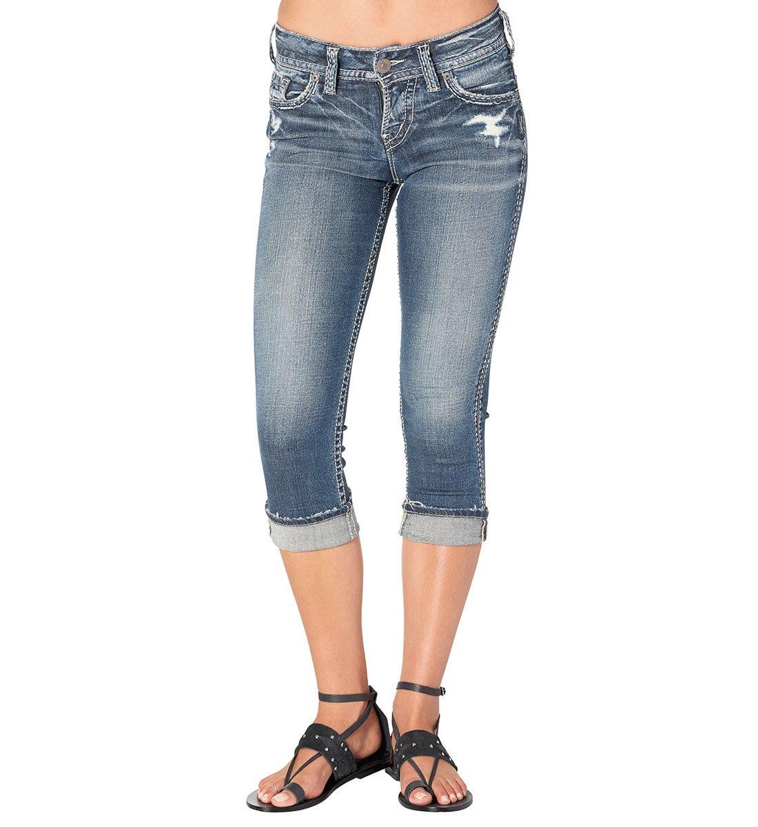 Silver Jeans Women's Suki Perfectly Curvy-Fit Mid-Rise Capri Dark Wash, Vintage Dark Heritage, 28