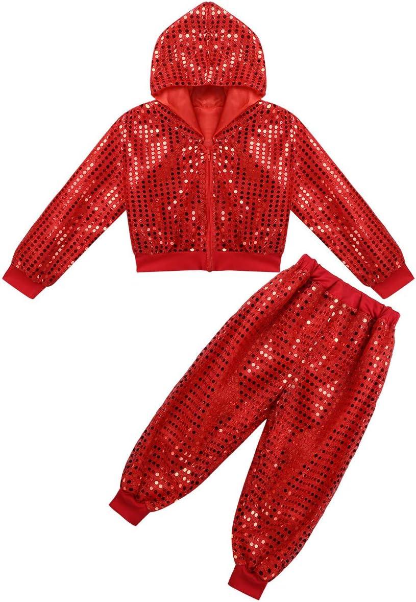 YOOJIA Childern Girls Sequins Hip hop Costume Dancing Outfit Street Modern Dance wear Crop Tops with Pants Set