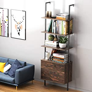UVII Industrial Ladder Shelf with Drawers, 3 Tier Open Shelf Storage Rack Shelves Ladder Bookshelf Plant Flower Stand Matte Metal Frame for Home, Living Room, Kitchen, Office