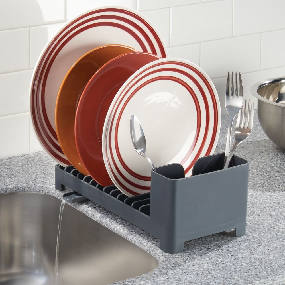 Slate InterDesign Clarity Compact Dish Drainer for Kitchen Countertop with Swivel Spout and Utensil Caddy