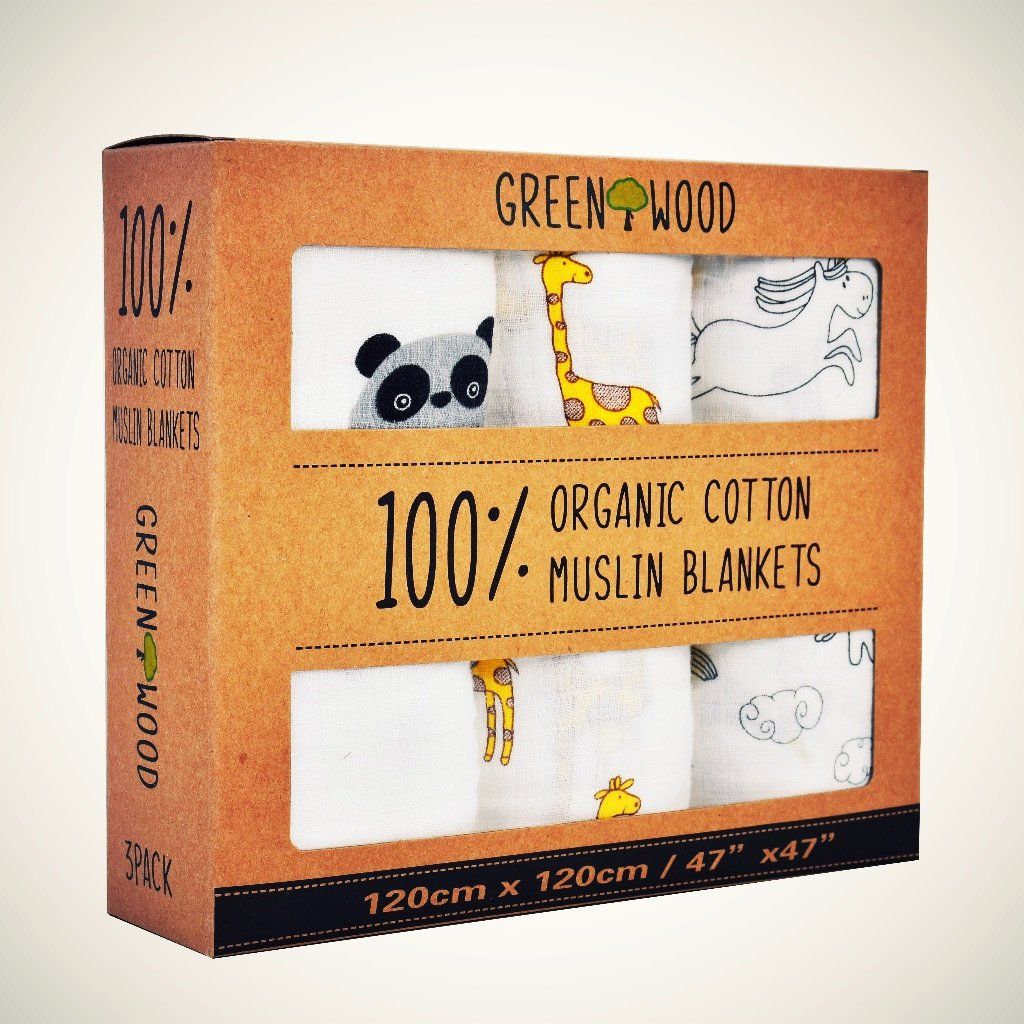 Muslin Swaddle Blankets - 100% Organic Cotton - 3 Pack 47'' x 47'' Ultrasoft and Hypoallergenic - Best Baby Shower Gift (Zoo) by Green Wood (Image #2)
