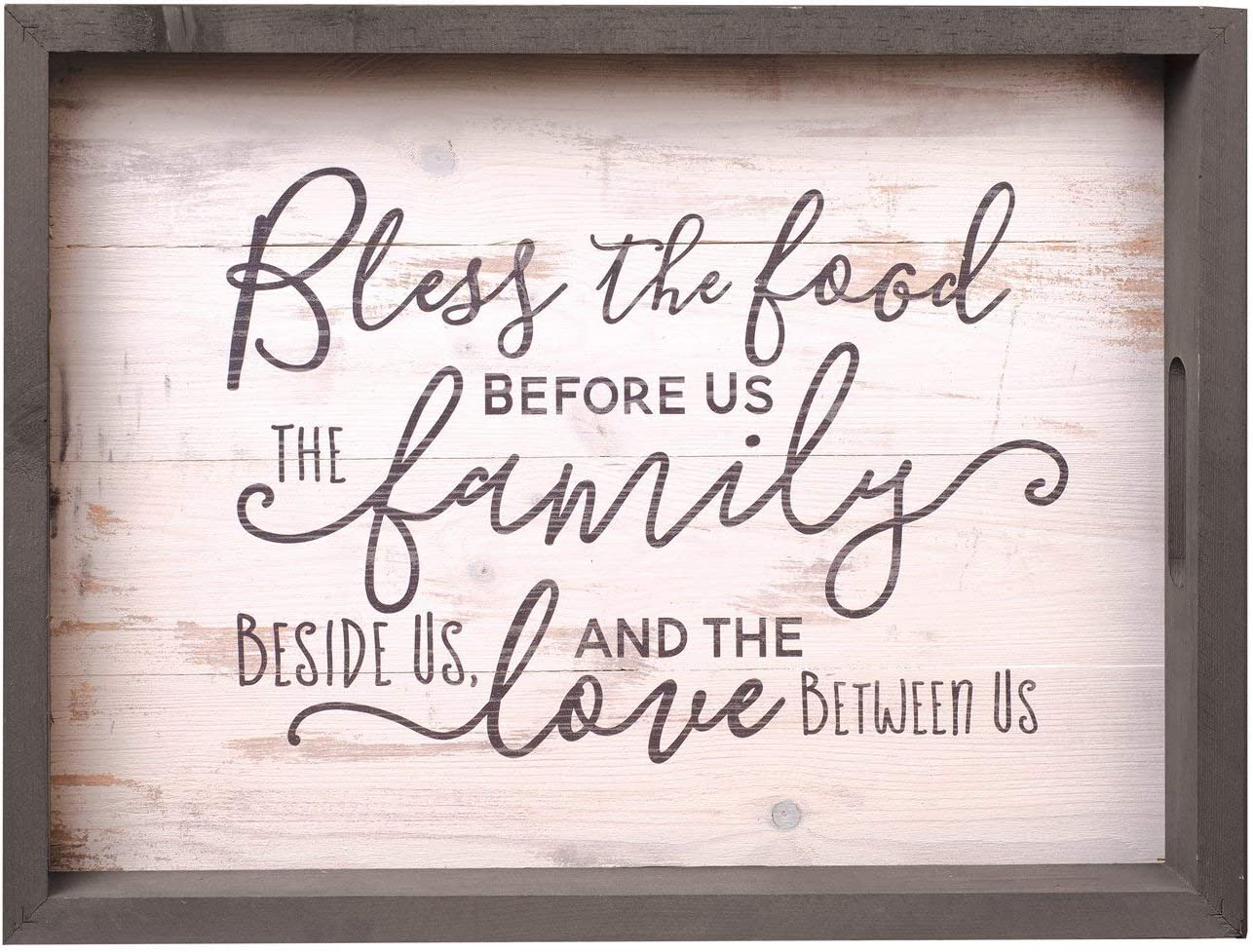 P. Graham Dunn Bless The Food Family Love White Wash 19.75 x 14.75 Inch Solid Pine Wood Farmhouse Serving Tray