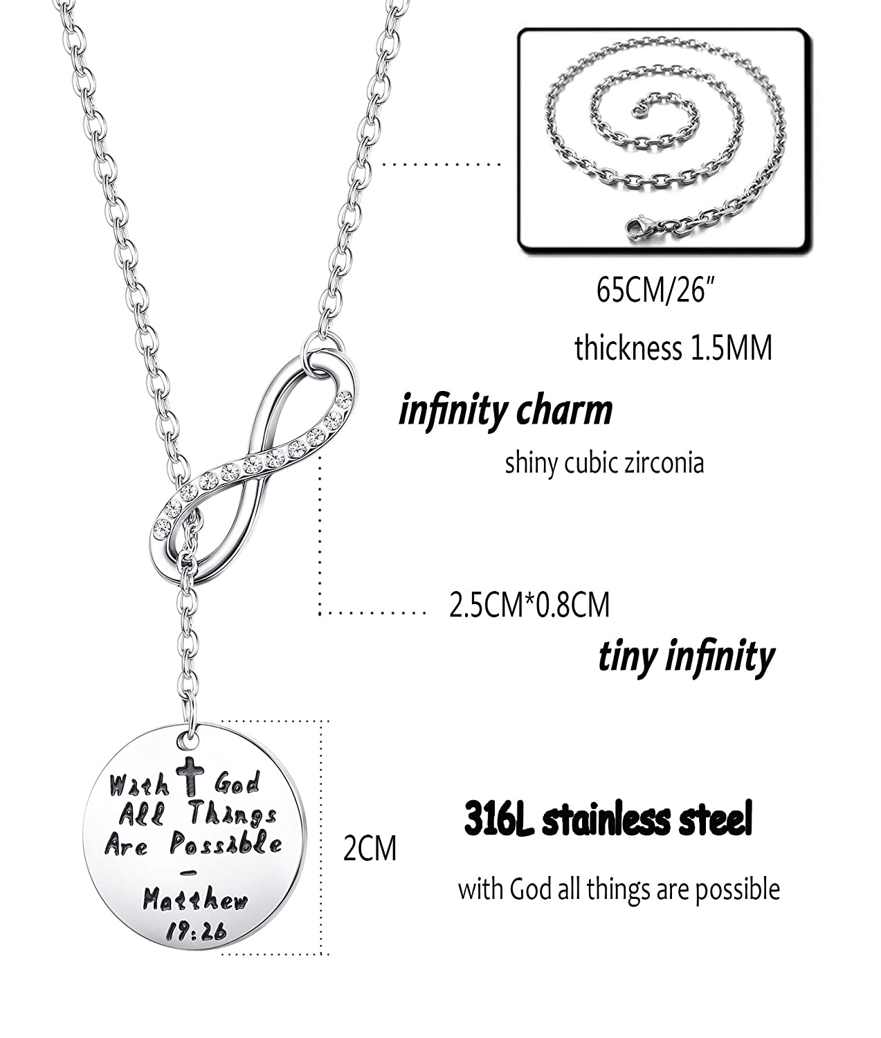 Milacolato 3 Pcs 61CM Stainless Steel Curb Chain Necklace for Men Women Link Necklace 3.5mm