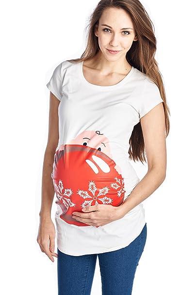 womens maternity christmas ornament peeking baby cute graphic print t shirt top at amazon womens clothing store - Maternity Christmas