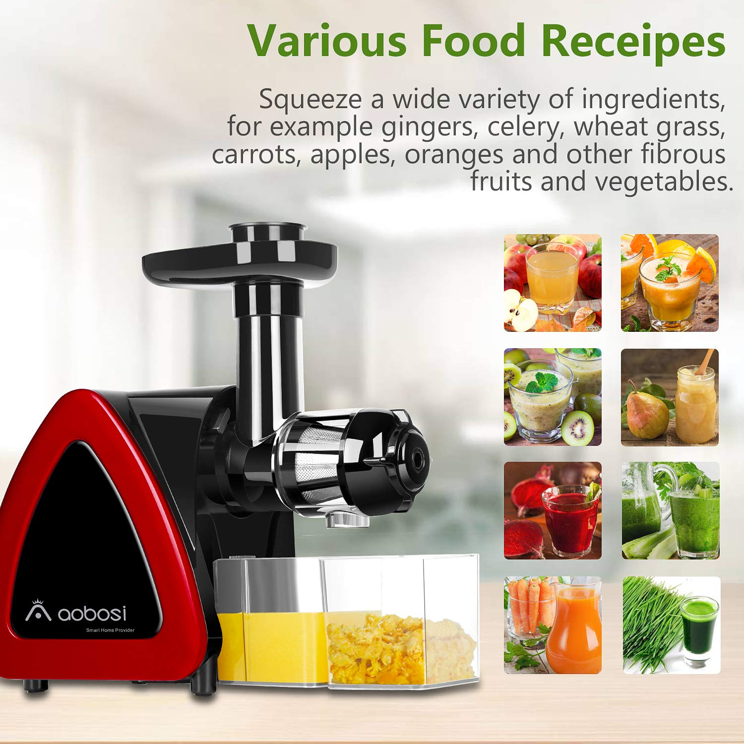 Aobosi Slow Masticating juicer Extractor, Cold Press Juicer Machine, Quiet Motor, Reverse Function, High Nutrient Fruit and Vegetable Juice with Juice Jug & Brush for Cleaning by AAOBOSI (Image #4)