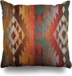 Mesllings Throw Pillow Cover Pillowcase Western Navajo Orange Grey Southwest Decorative Pillow Case Home Decor 18x18 Square Size Cushion Case