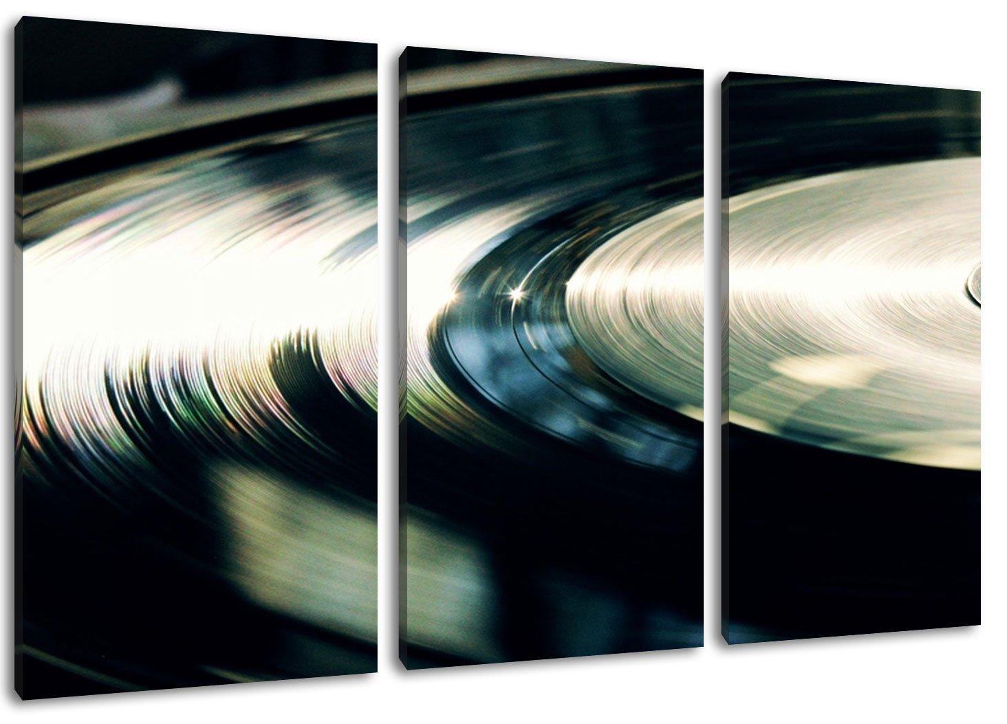 Dark Schallplatte, Musik, music, DJ Format  Dreiteiler Gesamt 120x80, 120x80, 120x80, Bild auf Leinwand bespannt, riesige XXL Bilder komplett und fertig gerahmt mit Keilrahmen, Kunstdruck auf Wand Bild mit Rahmen, günstiger als Gemälde oder Bild, kein Poster od cb20fe