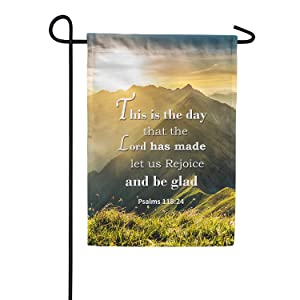 America Forever Bible Verse Garden Flag - 12.5 x 18 inch - Psalm 118:24 This is the day the Lord has made - Christian Quotes Double Sided Religious Outdoor Yard Decorative Inspirational Flag