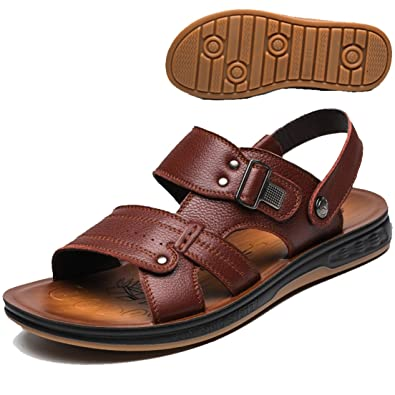 3f5034a5b6f5 Respeedime Men s Sandals Leather Beach Shoes Trendy Tendon Bottom Slippers  Brown ...