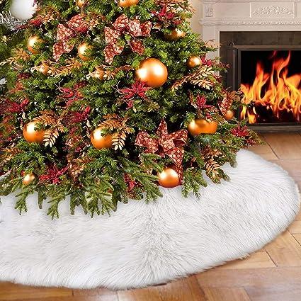 Elegant Christmas Tree Skirts.Amazon Com Partyshow Faux Fur Christmas Tree Skirt 35