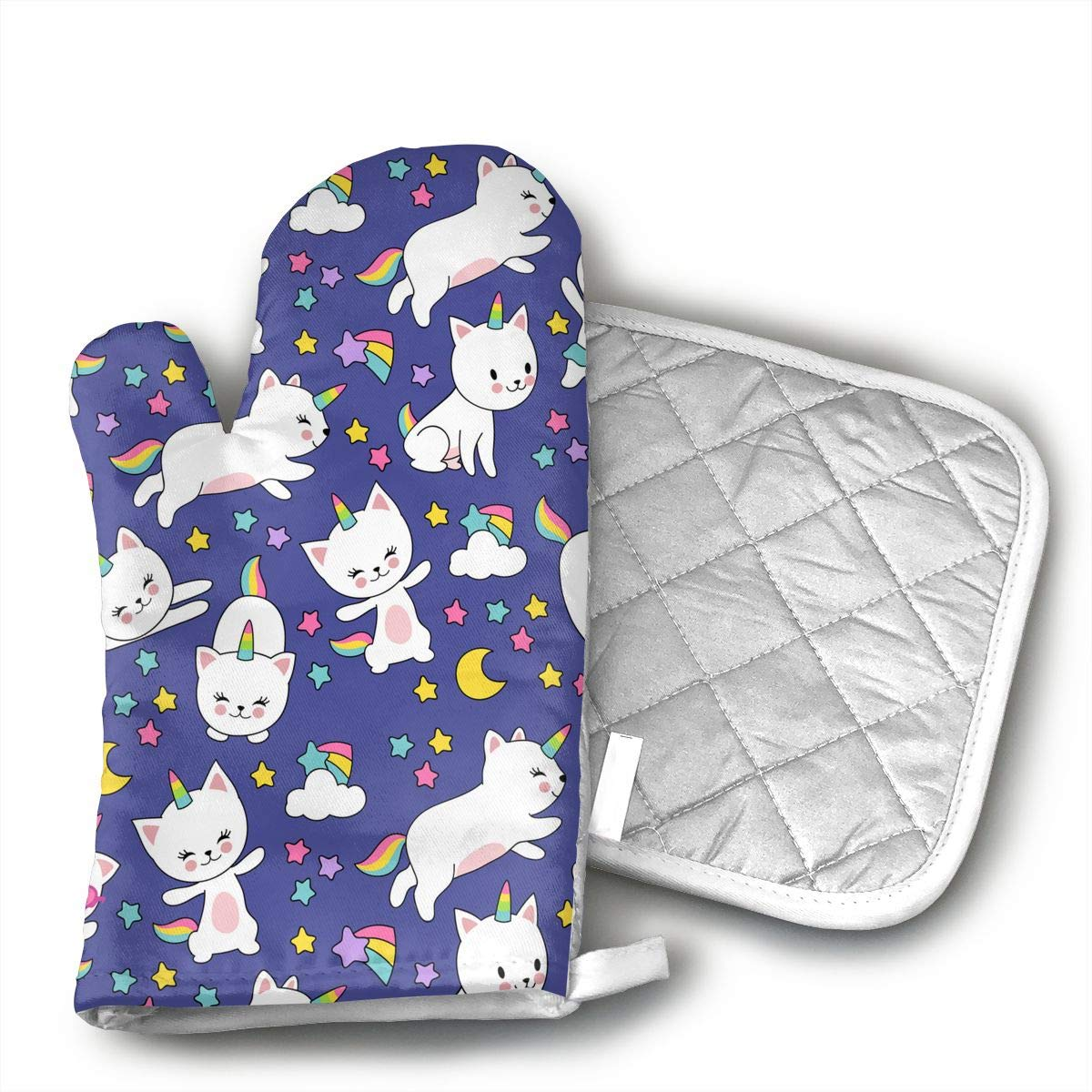 W3Zap6 Cute Cats Unicorn Seamless Pattern for Kids Oven Mitts BBQ Oven Gloves Baking Pot Mitts for Kitchen Cooking