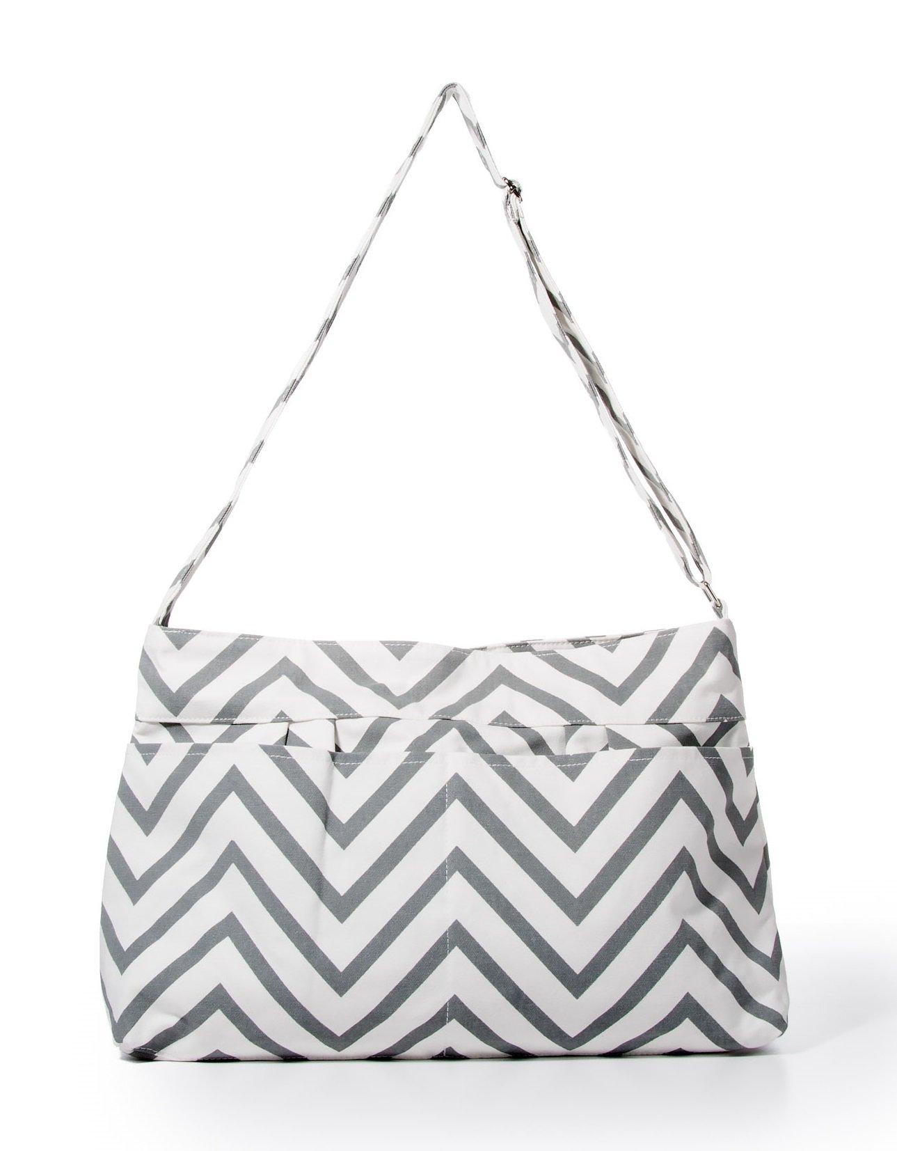 Gray Chevron Tote Diaper Bag By White Elm