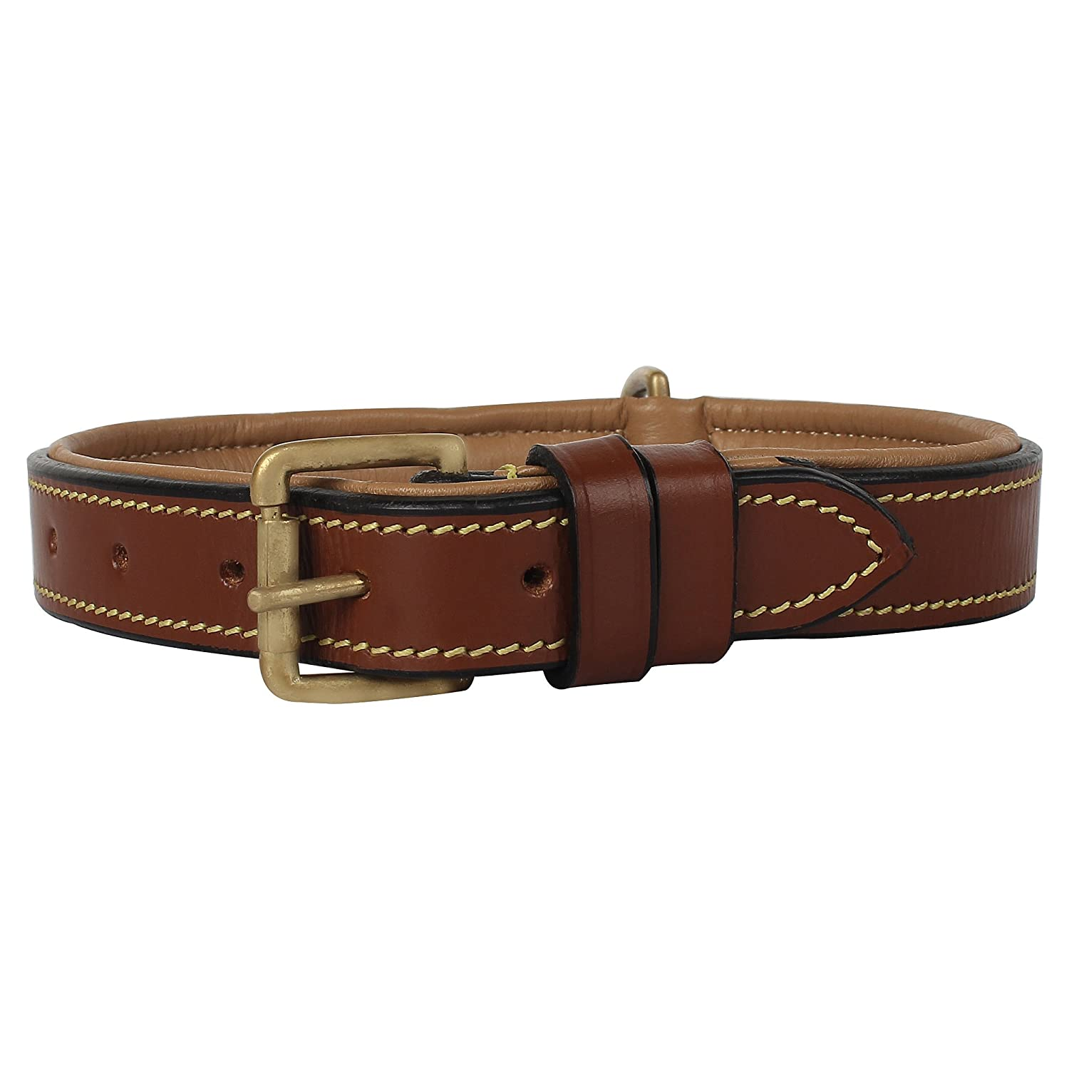 Brown Rustic Town Genuine Leather Dog Collar Pet Collar with Brass Buckles and D Rings for Name Tags Plate Perfect Size Collars for Small, Medium and Large Size Dog (10 to 19 inches)