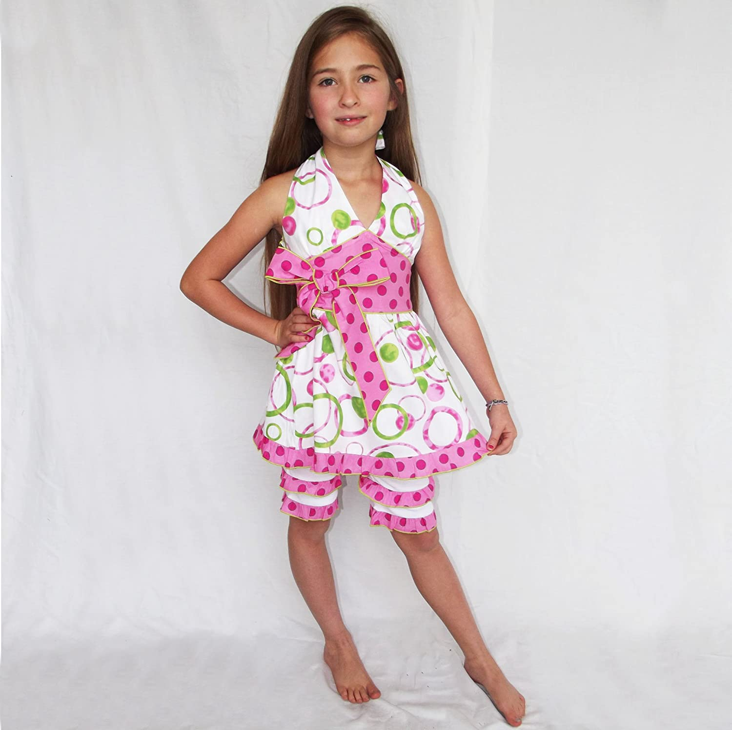 AnnLoren Big and Little Girls Spring and Summer Tunic and Leggings Clothing from 12 Months to 13 Years