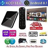 H96 max X2 Android 8.1 TV Box, 4GB RAM 32GB ROM S905X2 Quad core Dual WiFi 3D Smart TV Box Streaming Media Player Plus Keyboard