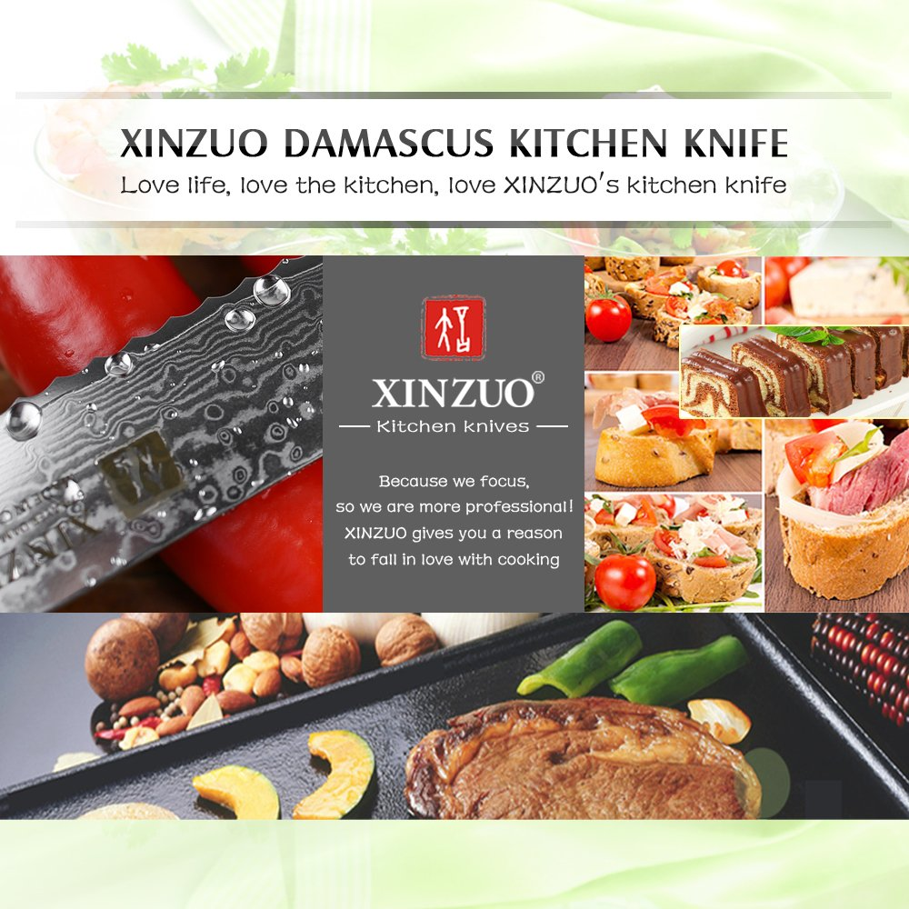 XINZUO 8 Inch Bread Knife High Carbon 67 Layer Japanese VG10 Damascus Super Steel Kitchen Knife Professional Chef's Knife with Pakkawood Handle - Ya Series by XINZUO (Image #6)