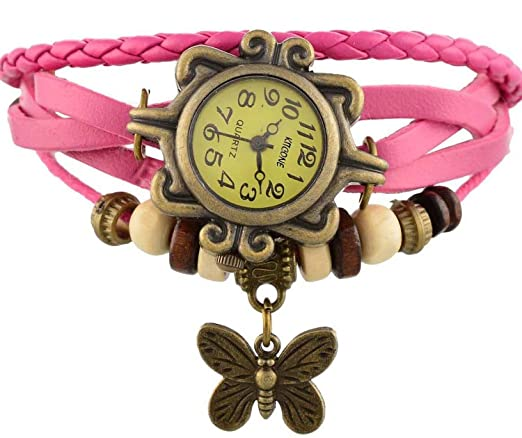 Meenakshi Handicraft Emporium Round Dial Analog Butterfly Watch For Women & Girls (Pink)