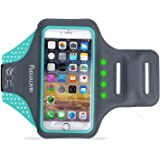 FSDUALWIN iPhone 7 Plus Armband with Self-generating Safety LED, Sports Arm Band, Waterproof Fingerprint Touch Supported Arm Case with Card Slot for iPhone 6 / 6s / 7 Plus(5.5 inch) (Blue)