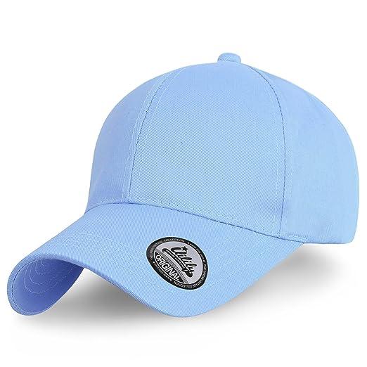a2ef3a65ec8ab7 ililily Solid Color Basic Strap Back Blank Trucker Hat Baseball Cap, Baby  Blue
