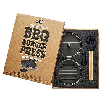 Prensa de hamburguesas de aluminio antiadherente – Molde para hamburguesas – Con asa y cepillo de