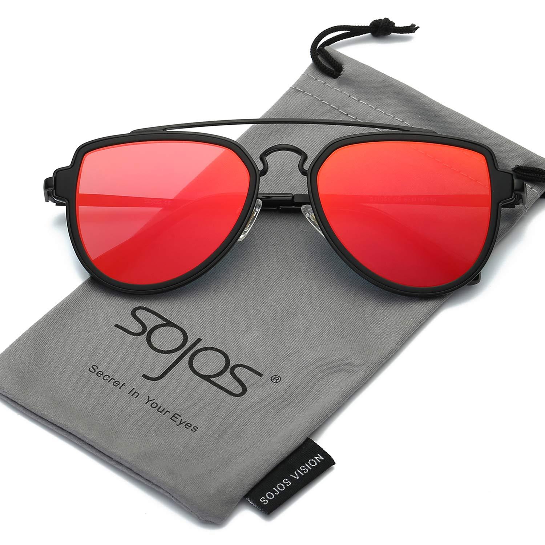45b70eb277 SOJOS Fashion Aviator Unisex Sunglasses Flat Mirrored Lens Double Bridge  SJ1051 with Matte Black Frame Red Mirrored Lens