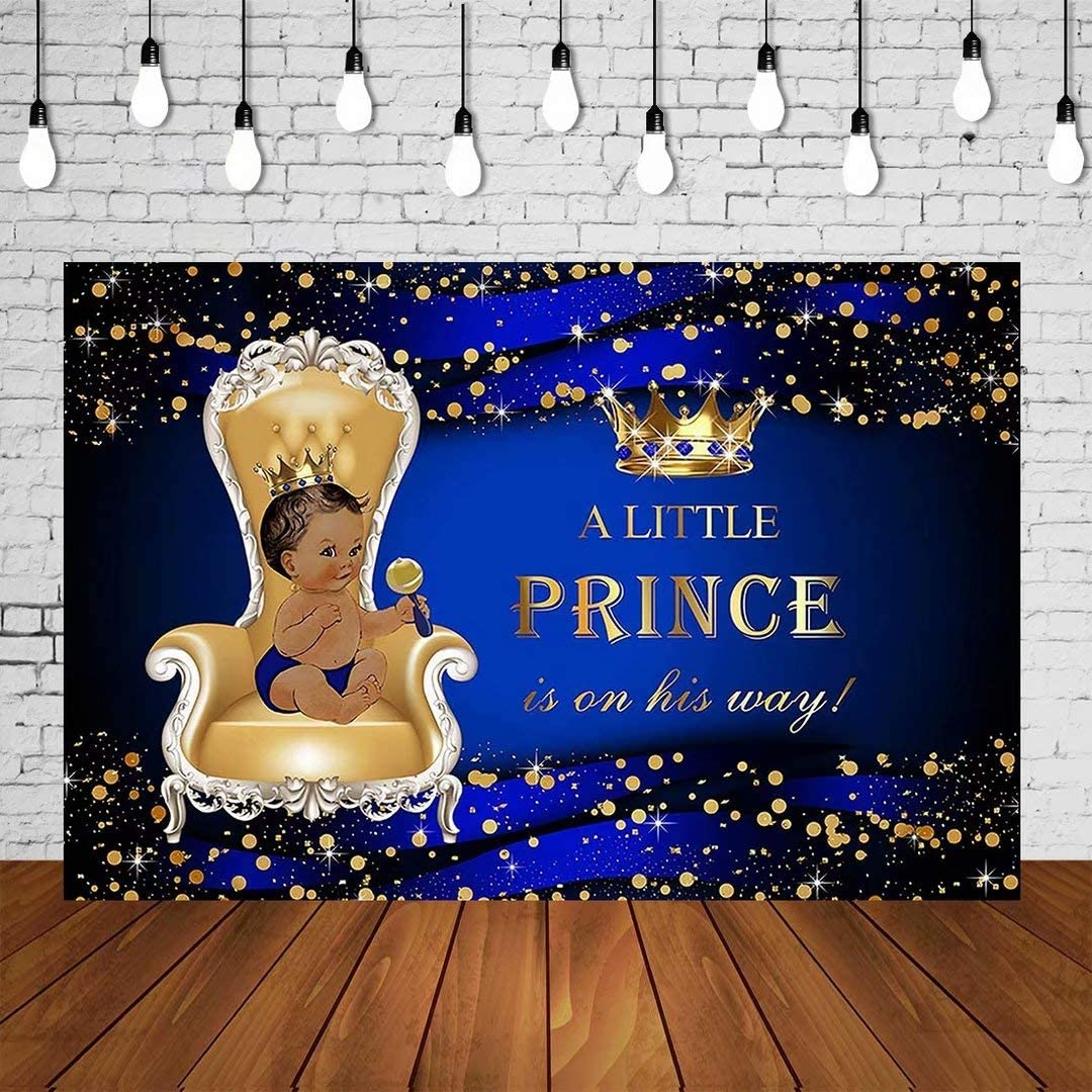 AOSTO 6x5ft Baby Shower Backdrop Royal Blue Boy Prince is On His Way Background for Party Decoration Vinyl Photo Booth SM-847