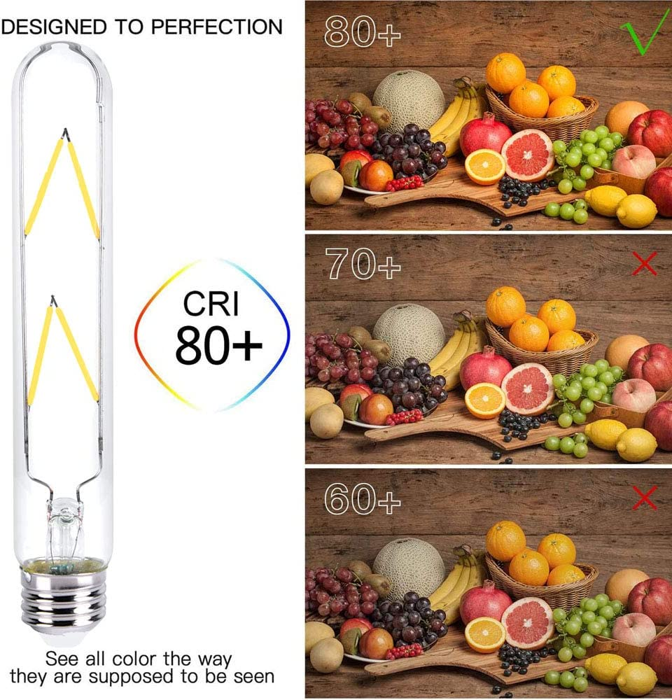T10 Vintage Bulb 6w Medium Base 550lm 7.3in 4-Pack E26 6W Warm White 60 Watt Equivalent Dimmable Tubular Led Bulbs with Standard Base E26 Soft White 4000k Edison Style Filament Light Bulb