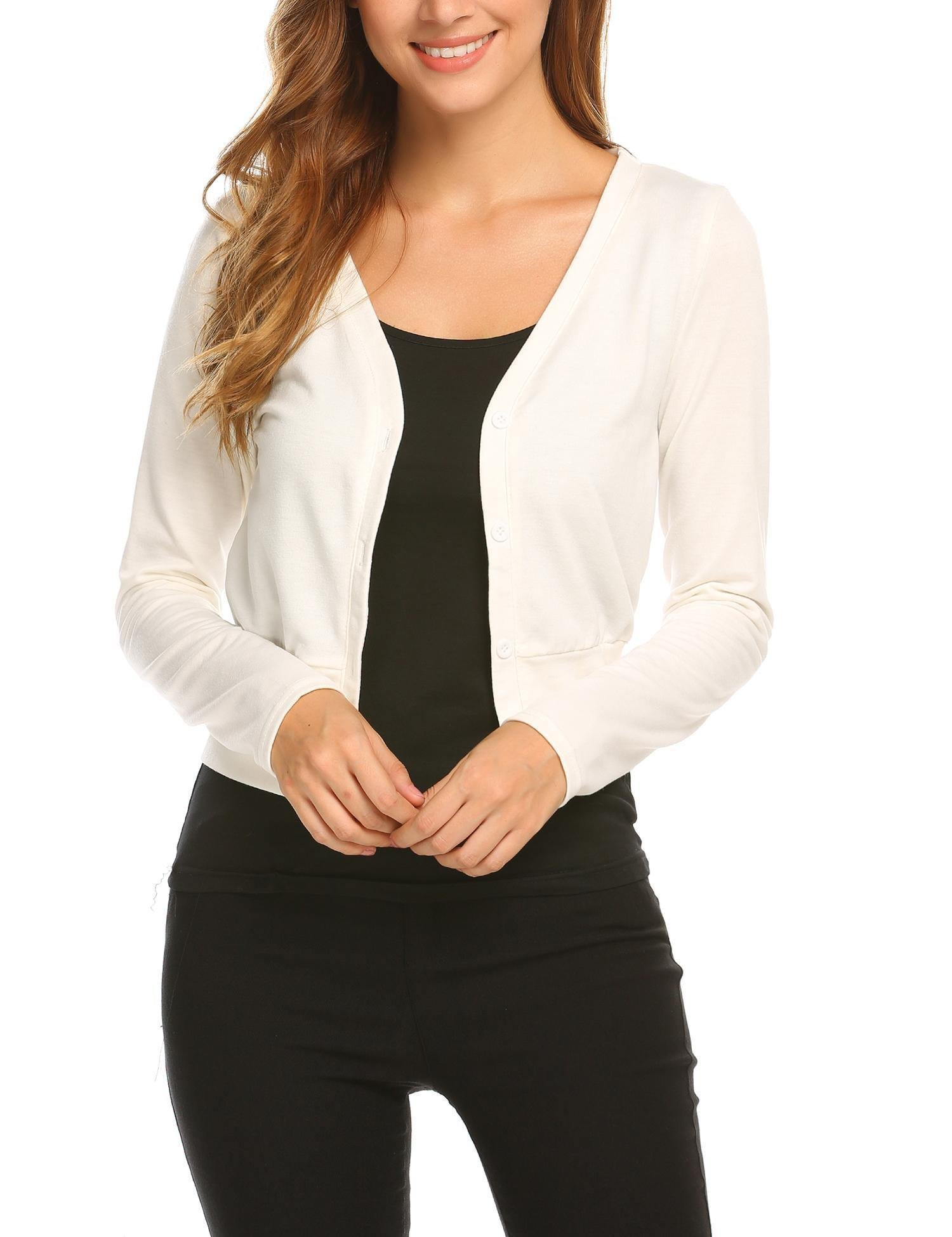 ELESOL Womens V-Neck Button Down Fitted Long Sleeve Fine Basic Soft Knit Top Sweater White/L