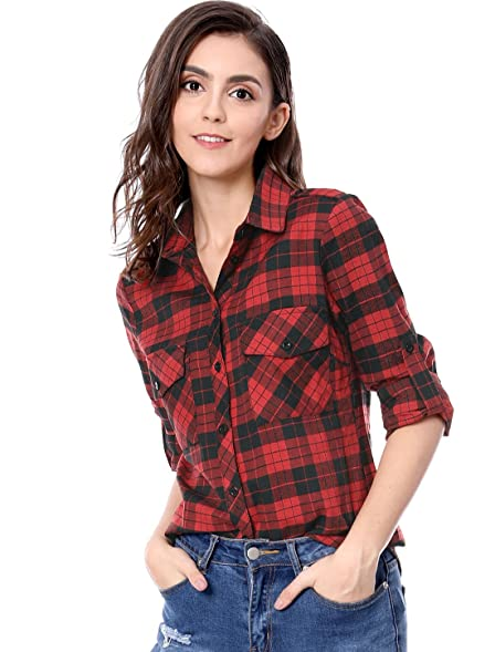 Allegra K Women's Check Roll Up Sleeves Flap Pockets Brushed ...