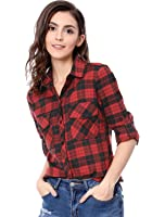 Allegra K Women's Check Roll Up Sleeves Flap Pockets Brushed Shirt