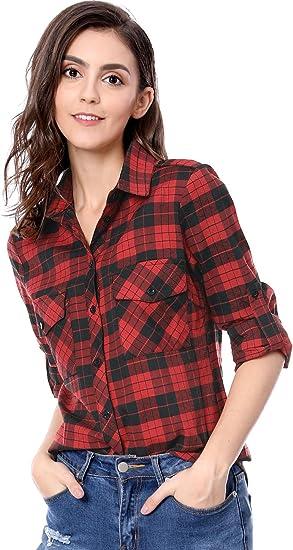 Allegra K Camisa De Cuadros Bolsillos con Solapa Mangas Enrolladas para Mujer
